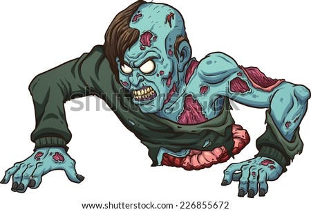 Zombie with no legs crawling. Vector clip art illustration with simple gradients. All in a single layer.  - stock vector