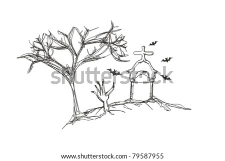 Zombies hand emerging out of the ground in a graveyard - doodles - stock vector