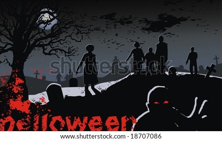 zombies rise from their tombs - stock vector