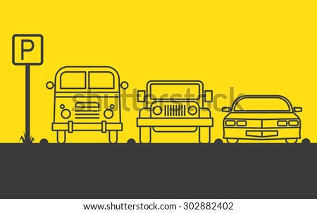 Zone parking Cars in the parking lot. background, vector illustration. - stock vector