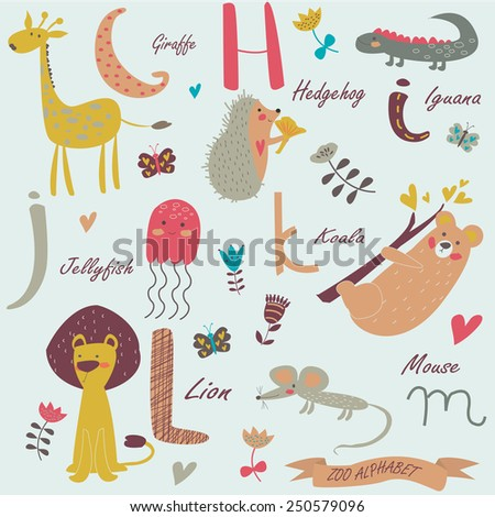 Zoo alphabet with cute animals. G,h,i,j,k,l,m letters. Giraffe, hedgehog, iguana, jellyfish, koala, lion, mouse in cartoon style. - stock vector