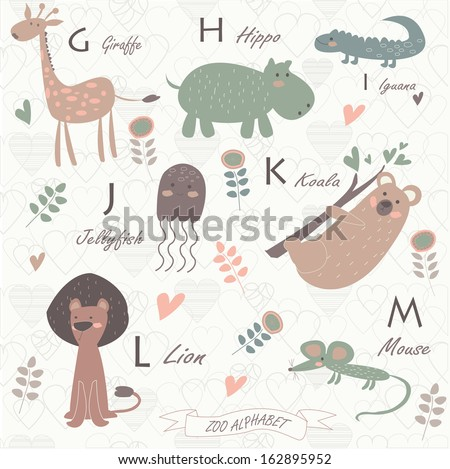 Zoo alphabet with cute animals. G, h, j, k, l, m letters. Giraffe, hippo, iguana, jellyfish, koala, lion, mouse. - stock vector