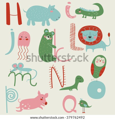 Zoo alphabet with cute animals in cartoon style. H, i, j, k, l, m, n, o, p, q letters. - stock vector