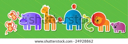 zoo animals parade - stock vector