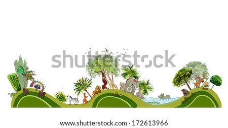 Zoo illustration, City collection - stock vector