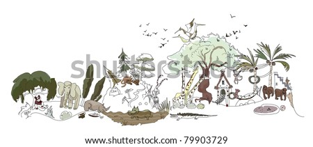 zoo illustration (left side) - stock vector