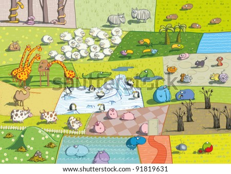 ZOO Landscape - stock vector