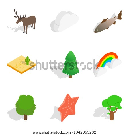 Zoological icons set. Isometric set of 9 zoological vector icons for web isolated on white background