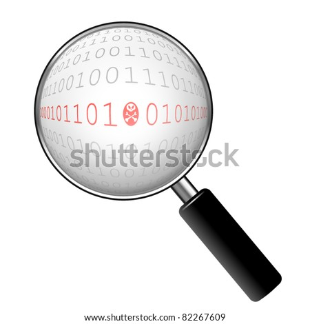 Zoom on a malicious binary code - stock vector