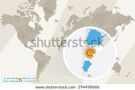 Zoom on Argentina Map and Flag. World Map.  - stock vector