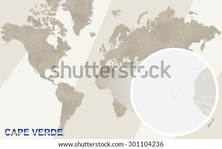 Zoom on Cape Verde Map and Flag. World Map.  - stock vector