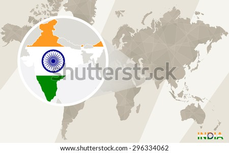 Zoom on India Map and Flag. World Map.  - stock vector