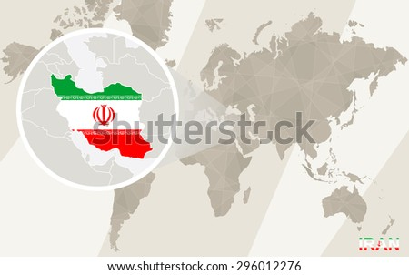 Zoom on Iran Map and Flag. World Map.  - stock vector