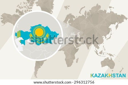 Zoom on Kazakhstan Map and Flag. World Map.  - stock vector