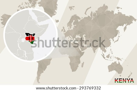 Zoom on Kenya Map and Flag. World Map.  - stock vector