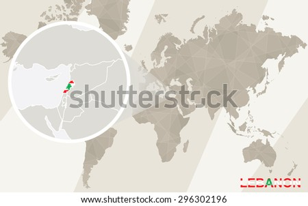 Zoom on Lebanon Map and Flag. World Map.  - stock vector