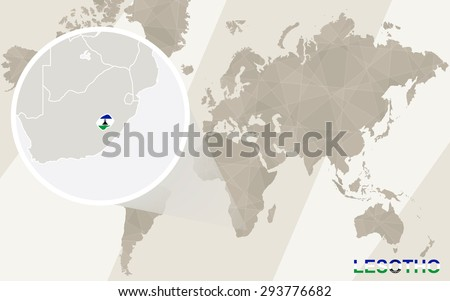 Zoom on Lesotho Map and Flag. World Map.  - stock vector