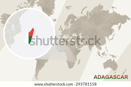Zoom on madagascar map flag world stock vector 293781158 zoom on madagascar map and flag world map gumiabroncs Gallery