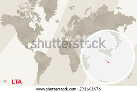 Zoom on Malta Map and Flag. World Map.  - stock vector