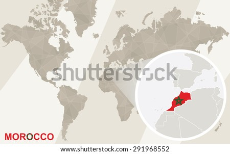 Zoom on Morocco Map and Flag. World Map.  - stock vector