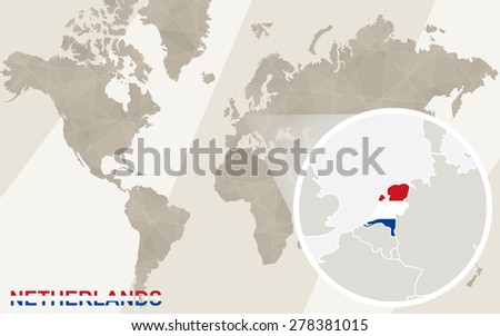 Zoom on netherland map flag world stock vector hd royalty free zoom on netherland map and flag world map gumiabroncs Images