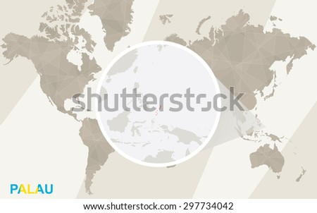 Zoom on Palau Map and Flag. World Map. - stock vector