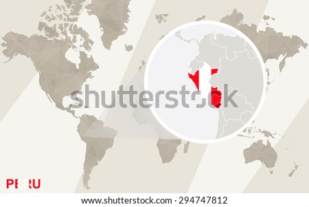 Zoom on Peru Map and Flag. World Map.  - stock vector
