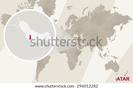 Zoom on Qatar Map and Flag. World Map.  - stock vector
