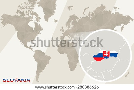 Zoom on Slovakia Map and Flag. World Map.  - stock vector