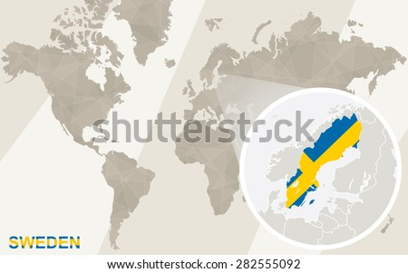 Zoom on Sweden Map and Flag. World Map.  - stock vector