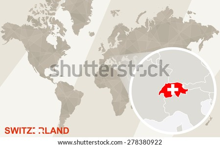 Zoom on Switzerland Map and Flag. World Map.