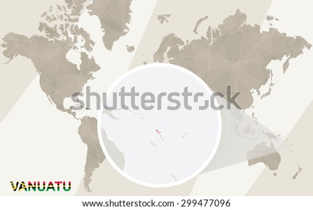 Zoom on Vanuatu Map and Flag. World Map.