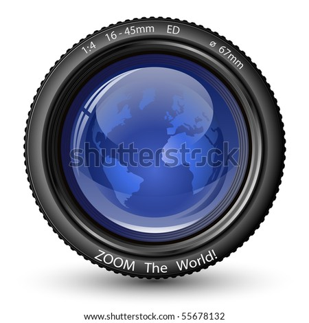 Zoom the World! Vector illustration of camera lens with Globe. Icon for TV News - stock vector