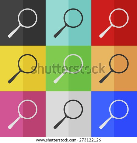 Zoom vector icon - colored set. Flat design - stock vector