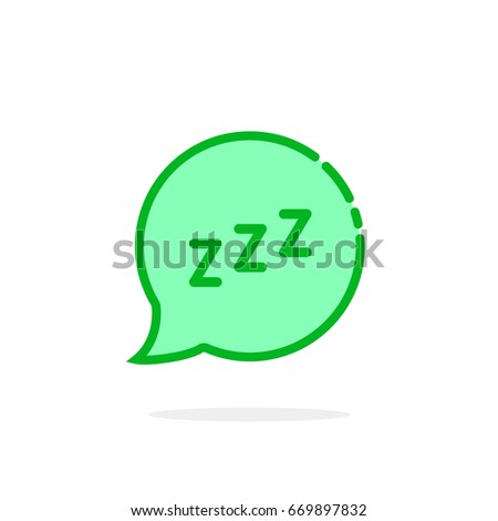 Zzz logo like green cartoon speech bubble concept of snoring chat sticker and popup resting